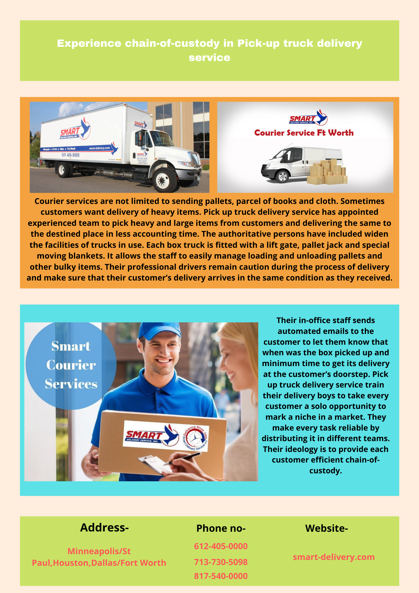 Our smart pickup truck delivery service provides ondemand