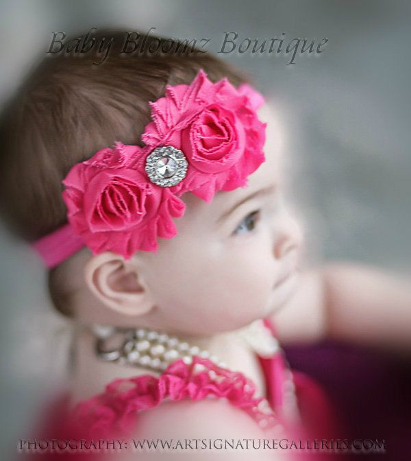 Baby Girl Headband Hairband Pink Double Bow Pink Flower