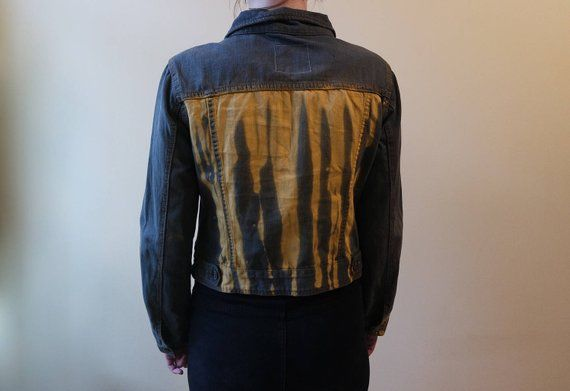 Vintage Khaki Denim Jacket With Yellow Painted Stripes Etsy In 2020 Denim Jacket Jackets Jean Coat