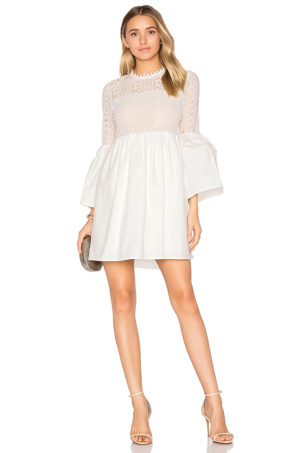 133cc9da4 Endless Rose Flare Sleeve Lace Mini Dress in Off White