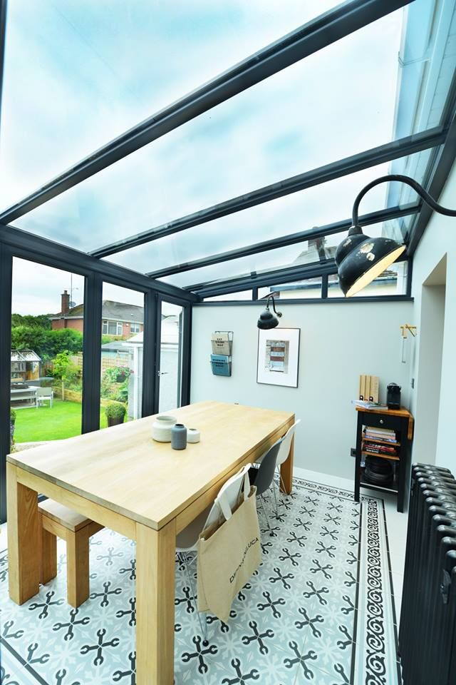 Bangor Northern Ireland This Beautiful Example Of A Glass Roof Lean To Conservatory Look At The Gorgeous Tiles And The Vintage Radiat Lean To Conservatory Conservatory Kitchen Glass Roof Extension