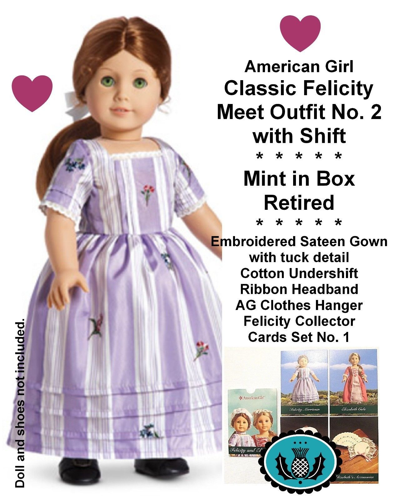 "Felicity American Girl Doll 18/"" Retired Meet Outfit SHIFT ONLY AG"