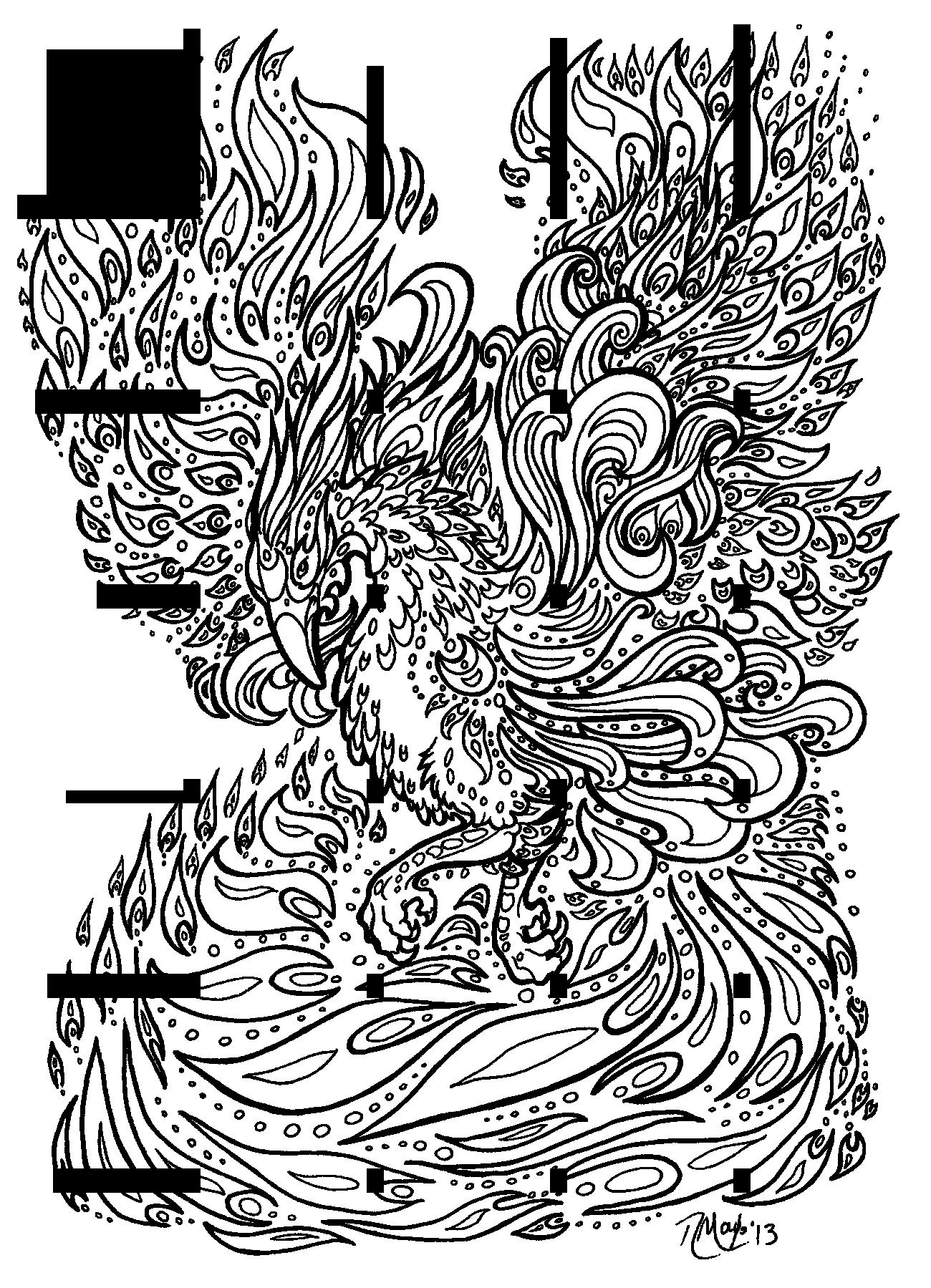 Ausmalbilder Fabelwesen Phönix   Ausmalbilder