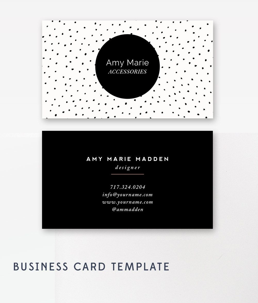 Business Card Template - Photoshop Templates - Polka Dot - Digital ...