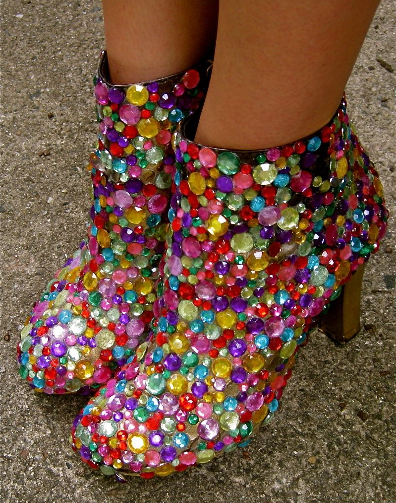 e75ad8cdf63 glammed up some of my old booties with spray paint and rhinestones ...