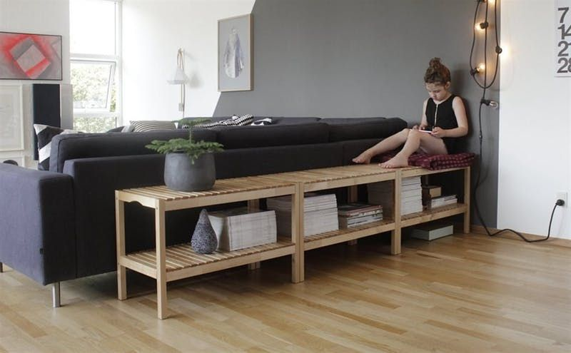 A Versatile Workhorse Ideas For Using The 40 Molger Bench All Around The House Living Room Bench Apartment Living Room Apartment Therapy Living Room