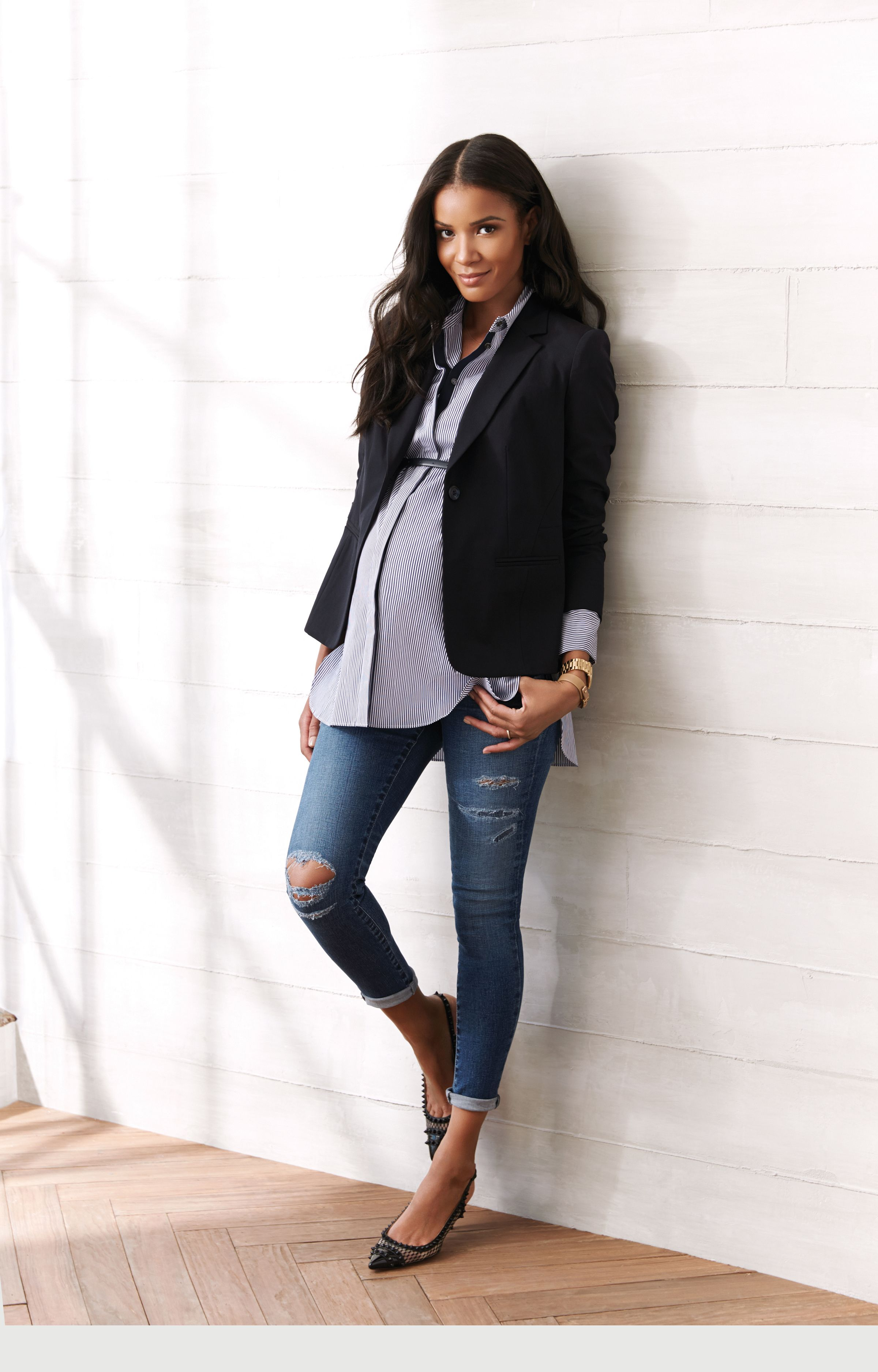 8dd479ffca432 Side Panel Destructed Skinny Leg Maternity Jeans Maternity Work Outfits,  Office Maternity Wear, Chic