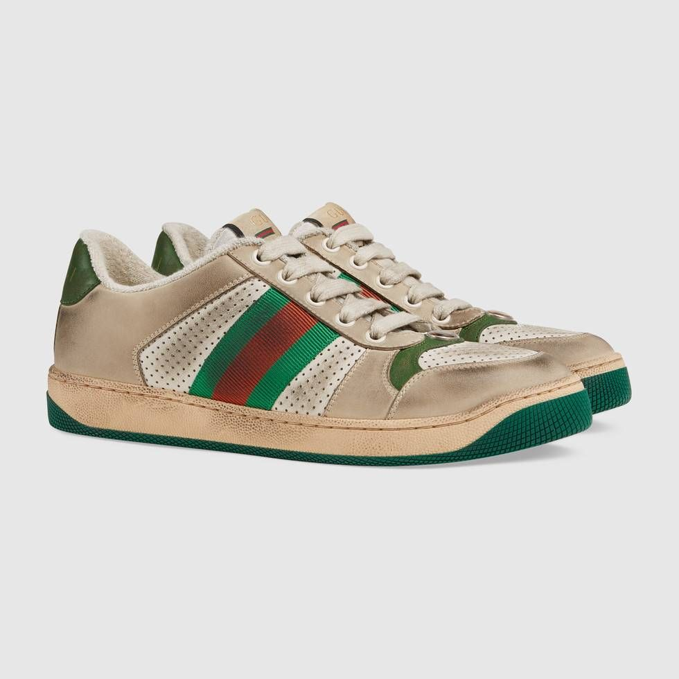 44cfb814bbf Shop the Women s Screener leather sneaker by Gucci. The Spring Summer 2019  collection continues to