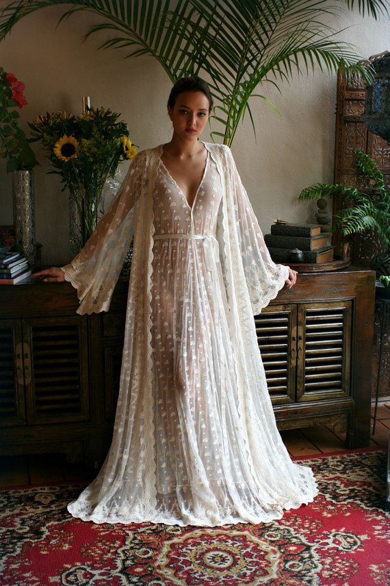 Embroidered Mesh Lace Nightgown Bridal от Sarafinadreams