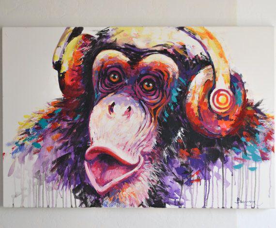 Original Musical Monkey Acrylic Painting On Canvas Ot Variychukart