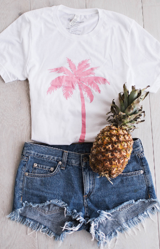 palm tree print white and pink shirt