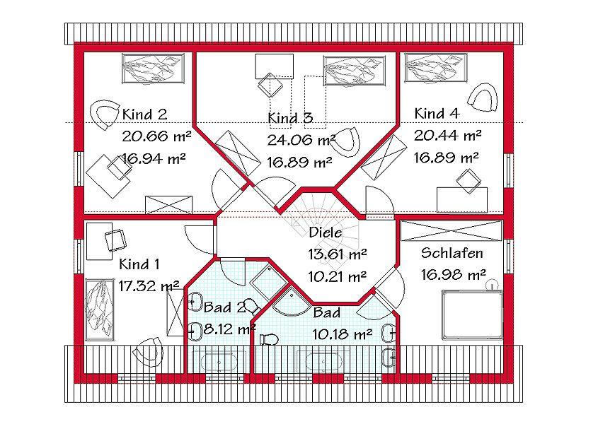 Das Dachgeschoss des Pultdachhauses mit 117,6 m² ...