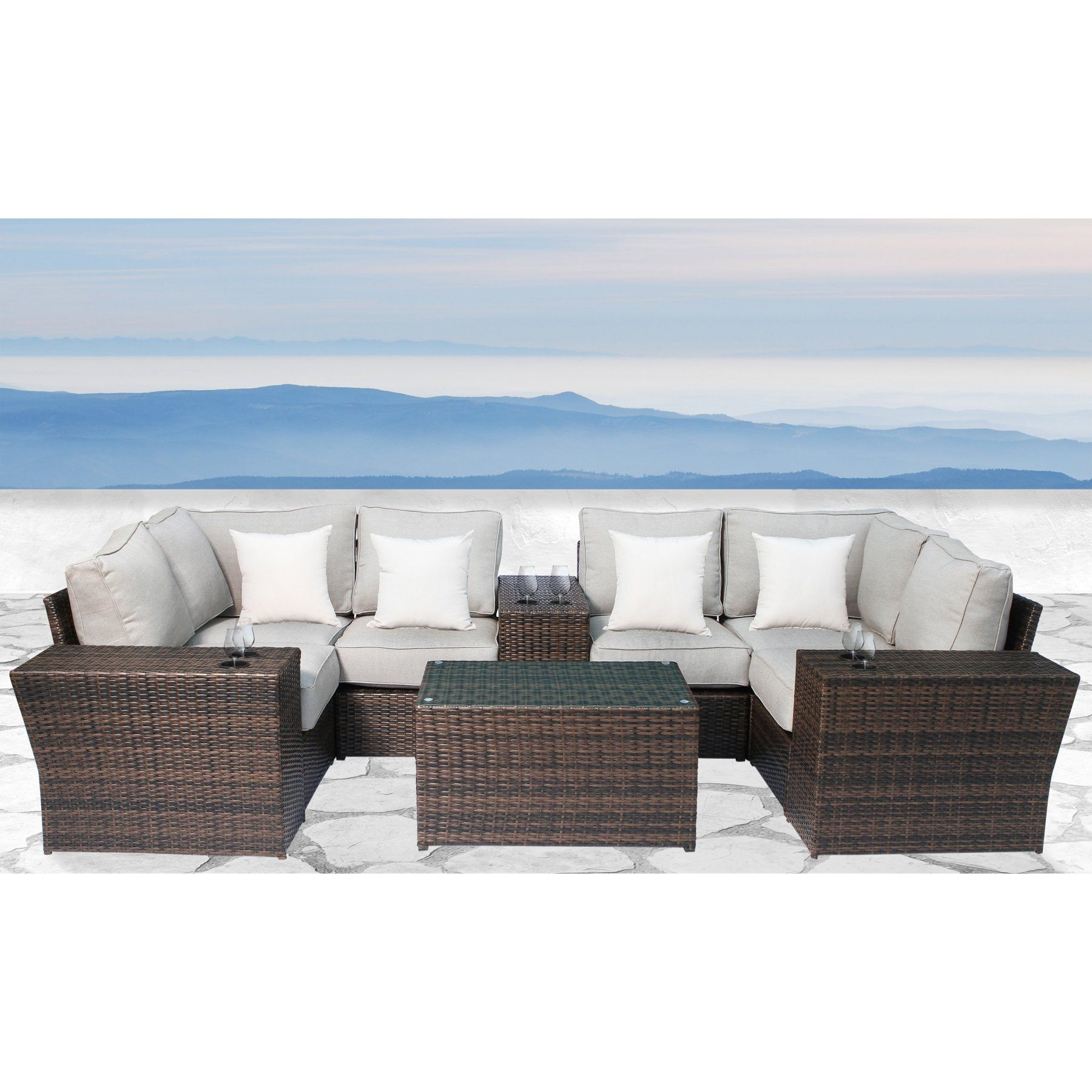 brown set patio source outdoor. outdoor living source international lucca wicker 10 piece patio conversation set - cm-4237 brown n