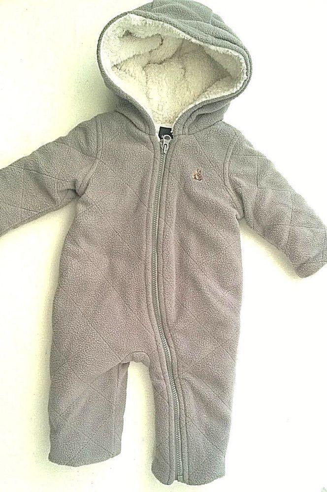 47c113887 Baby Boys Grey Fleece Pram Snowsuit All in One 0-3 months Baby Gap ...