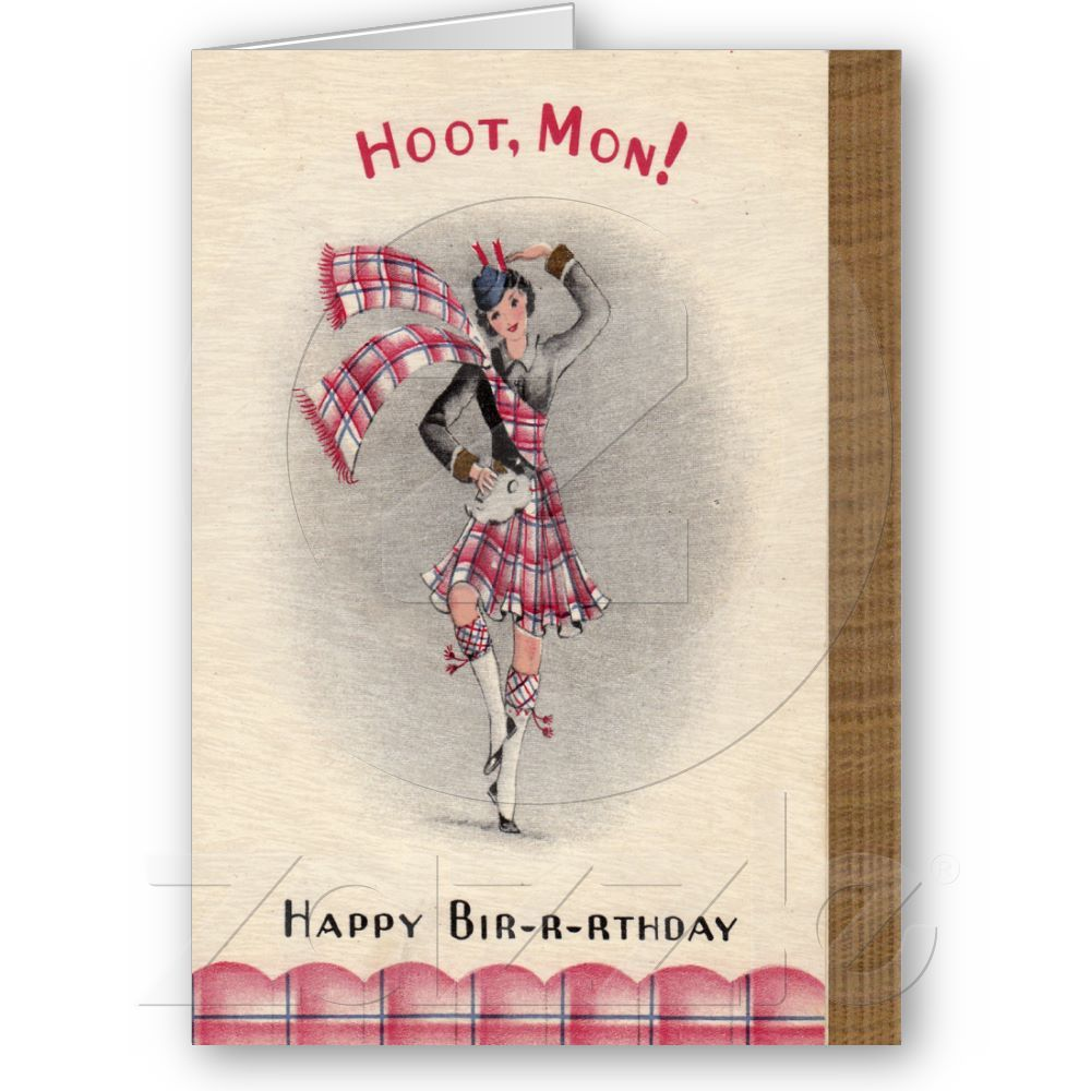 Scottish Birthday Card Zazzle Com Birthday Cards Happy Birthday Honey Old Cards