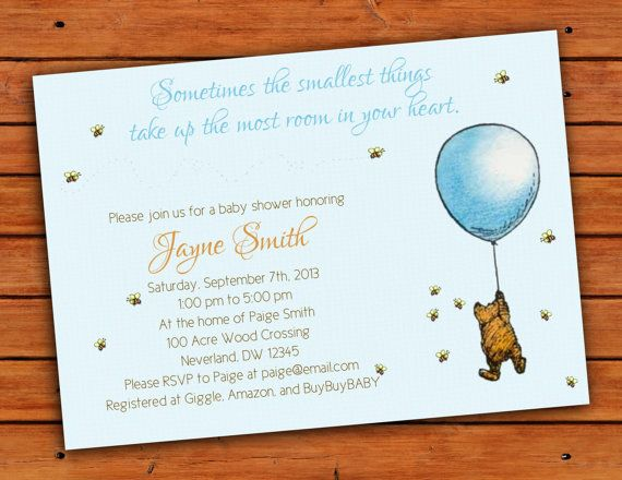Classic Winnie The Pooh Blue Baby Boy Shower Invitation 4x6 Etsy Baby Shower Invitations For Boys Boy Shower Invitations Baby Shower Envelopes