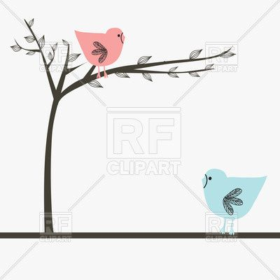 Cartoon birds on tree and on ground, 21399, download royalty-free vector clipart (EPS)
