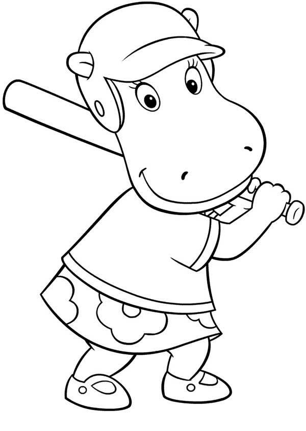 Tasha Play Baseball In The Backyardigans Coloring Page Kids Play Color In 2020 Coloring Pages Play Baseball Color