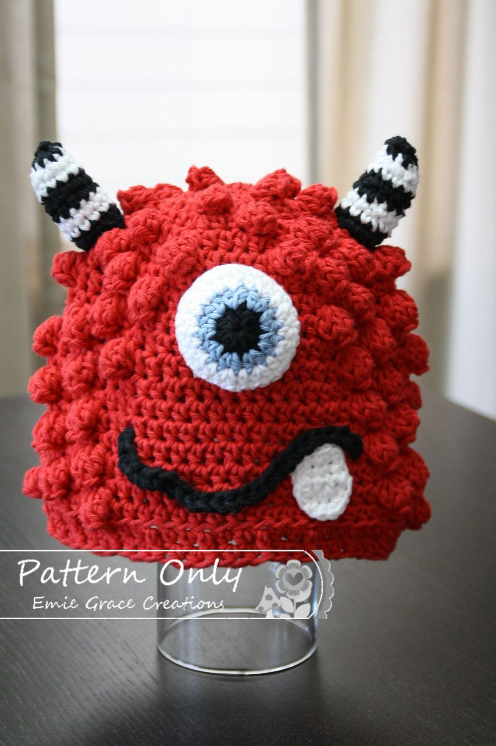 Monster Hat Crochet Pattern, 8 Sizes from Newborn to Adult, BRONSTER ...