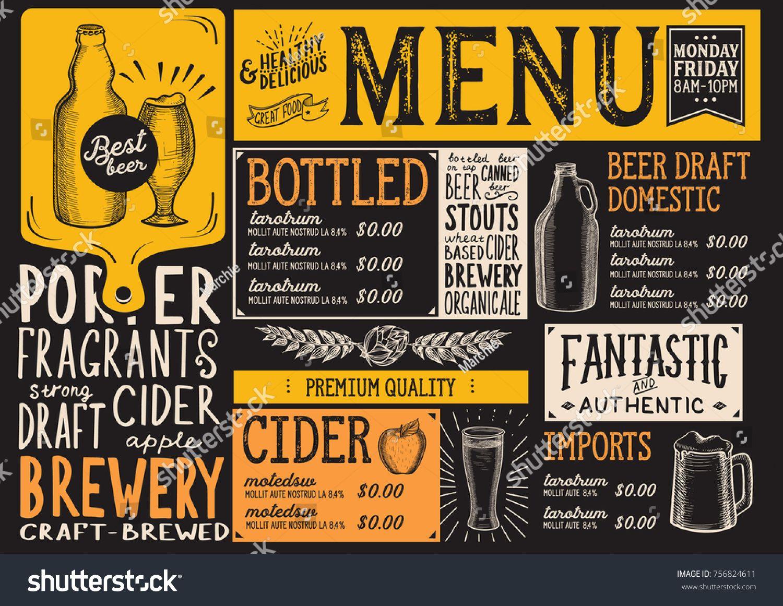 Menus Beer Chalkboard Beer Menu Beer Bar