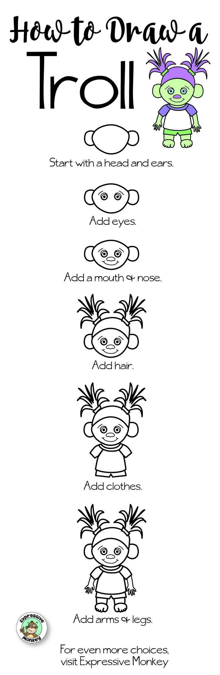 Free drawing set how to draw a troll from expressive monkey 3 free drawing set how to draw a troll from expressive monkey 3 different drawing ccuart Gallery