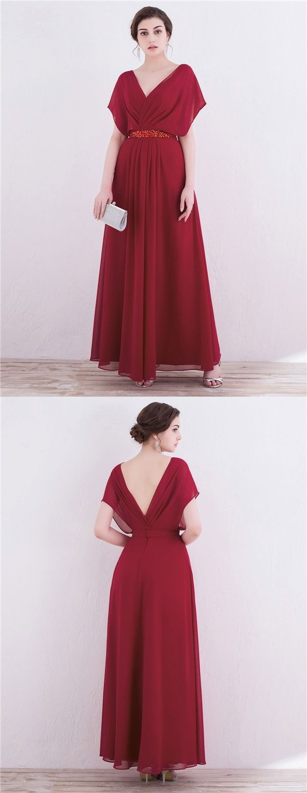 Aline vneck anklelength burgundy chiffon prom dress with beading