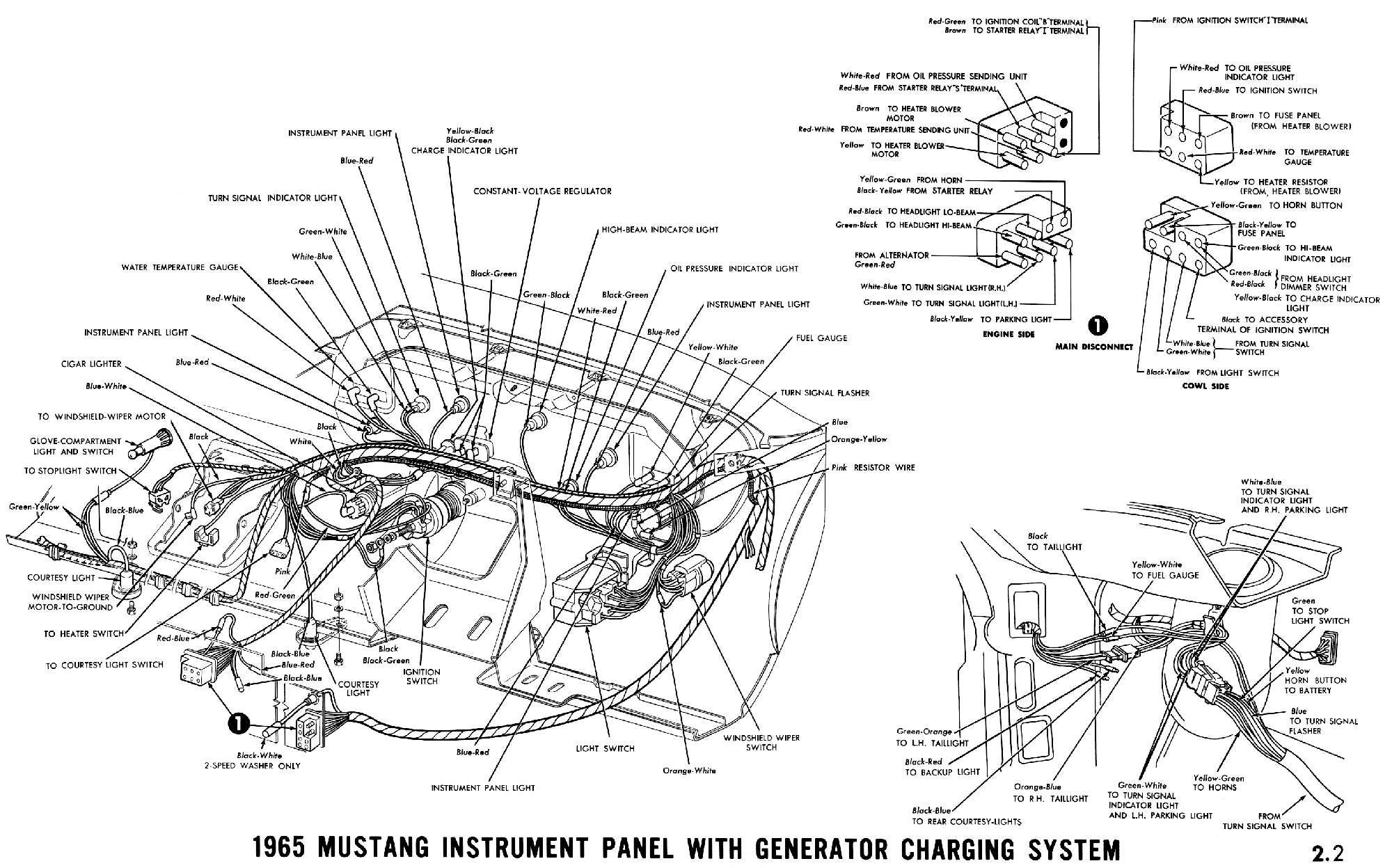 small resolution of 1965 mustang instrument panel with alternator charging system pictorial instrument cluster connections wiper switch headlamp switch ignition switch and
