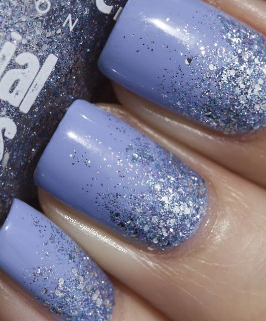 Nails Inc for Instyle Bluebell + Reverse Glitter Gradient   A Polish Addict