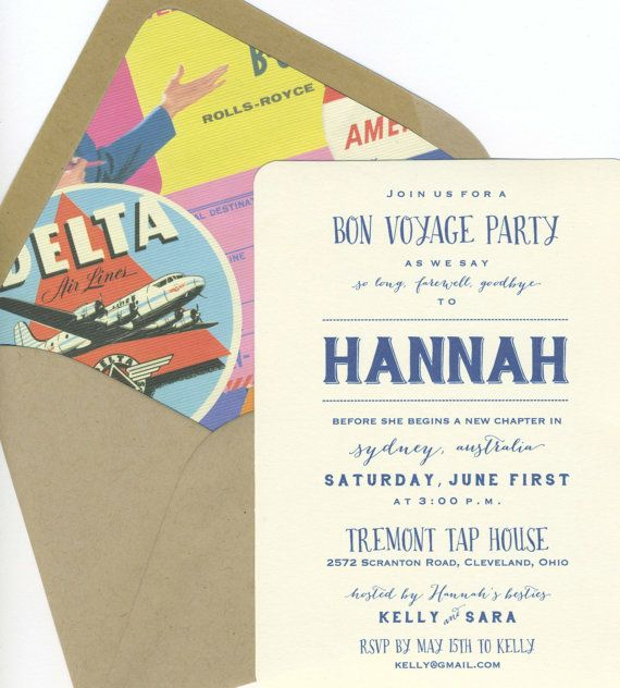 Bon voyage party invitations by bbinvitations on etsy going away bon voyage party invitations by bbinvitations on etsy stopboris Image collections