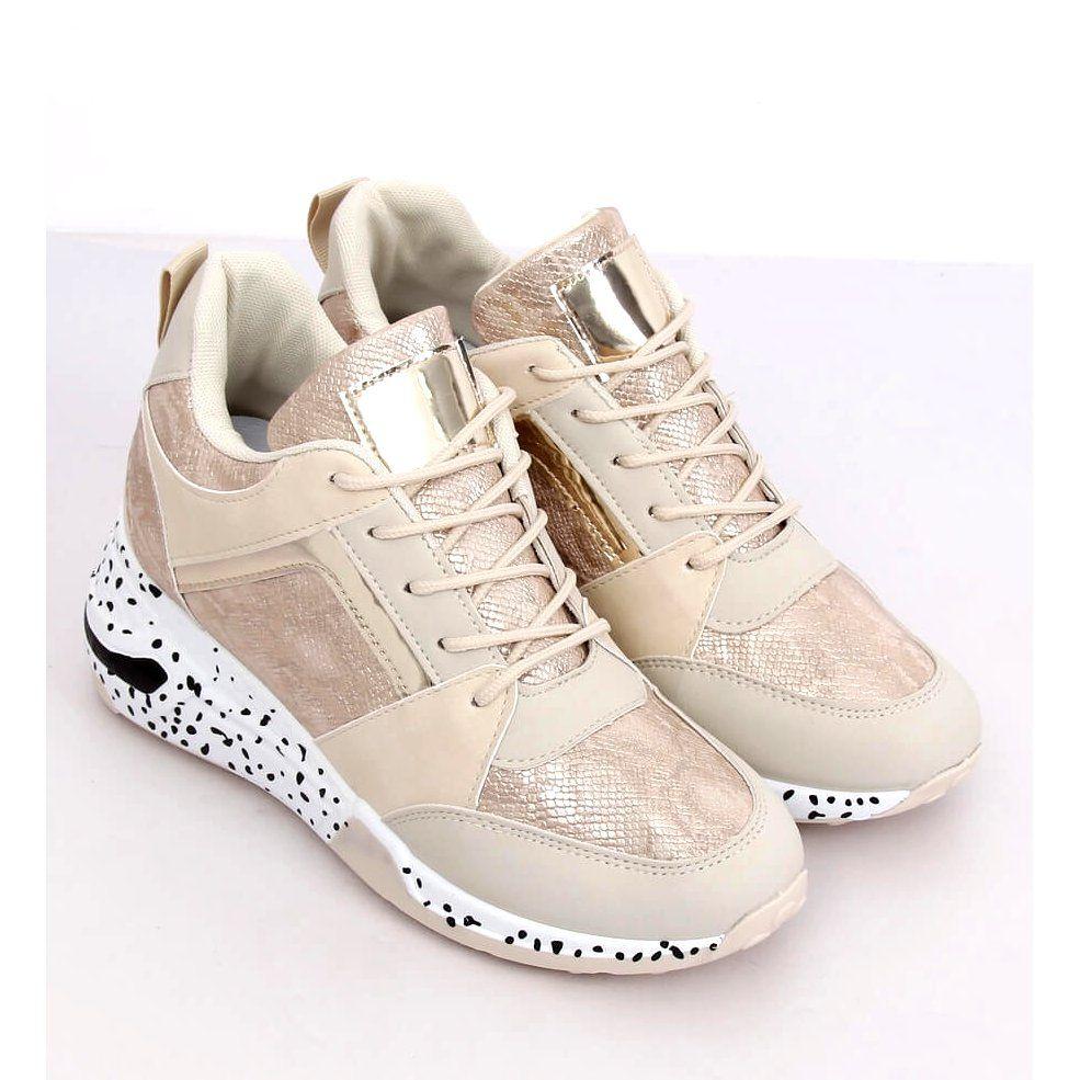 Buty Sportowe Na Koturnie Bezowo Zlote C131 Beis Bezowy Wedge Sneaker Shoes Sneakers