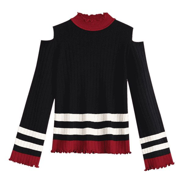 9656eda0941862 Mock Neck Stripe Cold Shoulder Sweater Black (€19) ❤ liked on Polyvore  featuring