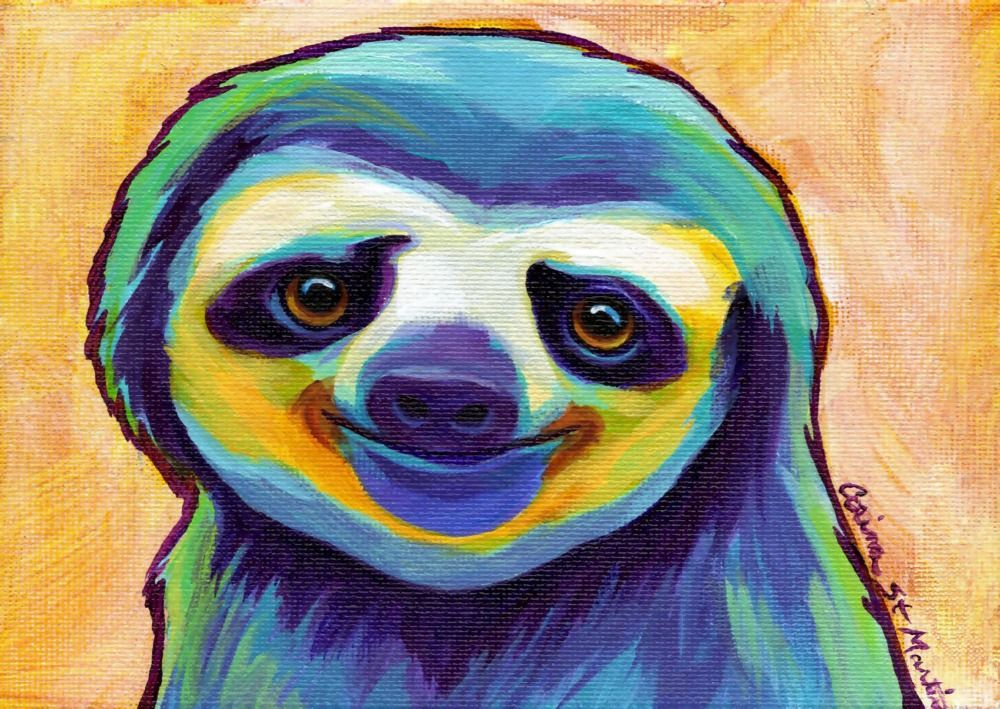 Sloth inspired Watercolour poster print wall art gift decor merchandise