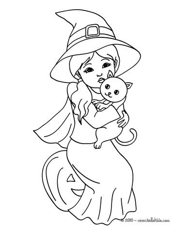 Witch Coloring Pages Lovely Witch With A Black Kitten Witch Coloring Pages Halloween Coloring Halloween Coloring Pages