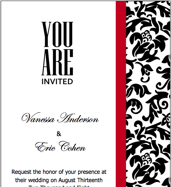 Black Red Wedding Invitations Template For Pages