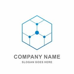 Hexagon Dots Digital Growth Data Link Connection Technology Computer Business Company Stock Vector Logo Design Template