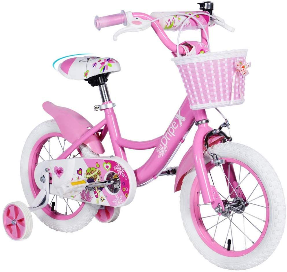 Dripex Girls Kids Bike 12 14 16 18 Inch Bicycle With Basket And Training Wheels Or Kickstand In 2020 Bike With Training Wheels Kids Bike Barbie Bike