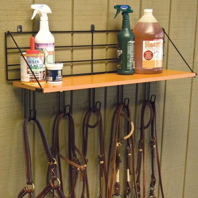 Wall Mount Wood Shelf W 5 Hooks Storage Of Above Bridle