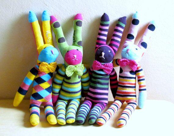 Mister rabbit    stripe bunnies sock stuffed by theYarnKitchen, $40.00