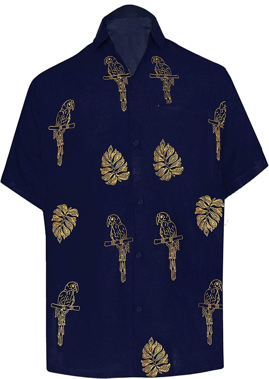 LA LEELA Shirt Casual Button Down Short Sleeve Beach Shirt Men Embroidered 170
