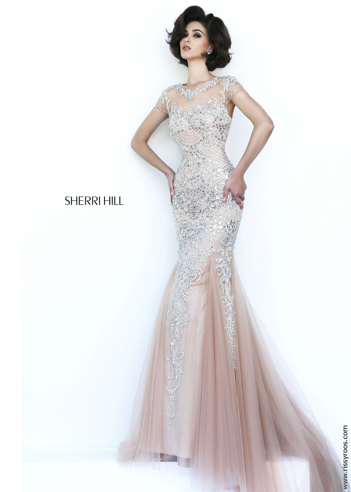 Sherri hill sparkling silver beaded illusion gown stunning