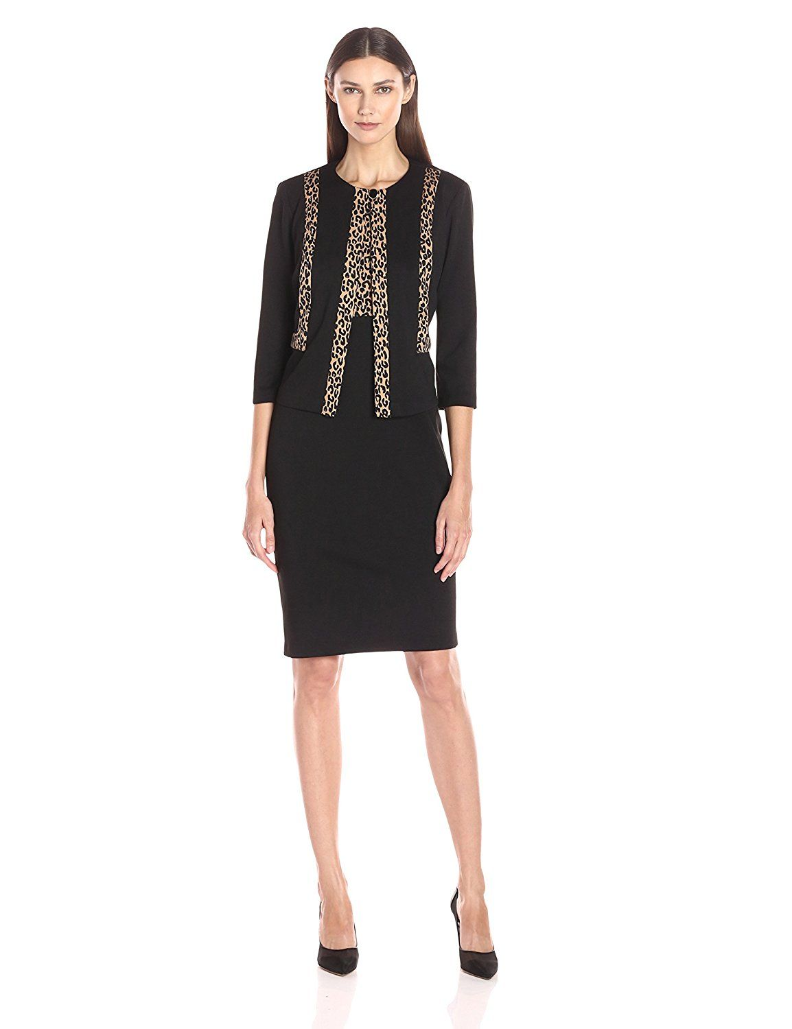 Danny and nicole womenus two piece jacket dress with leopard detail