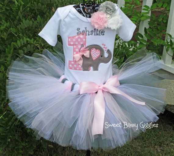 Pink and Grey Elephant Baby Girl 1st Birthday Tutu Outfit Jungle