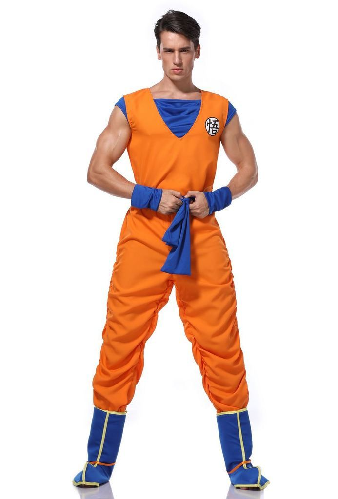 Echoine halloween costumes dragon ball goku costume Suit Son goku Cosplay Costumes For Adult boys child wig clothes set