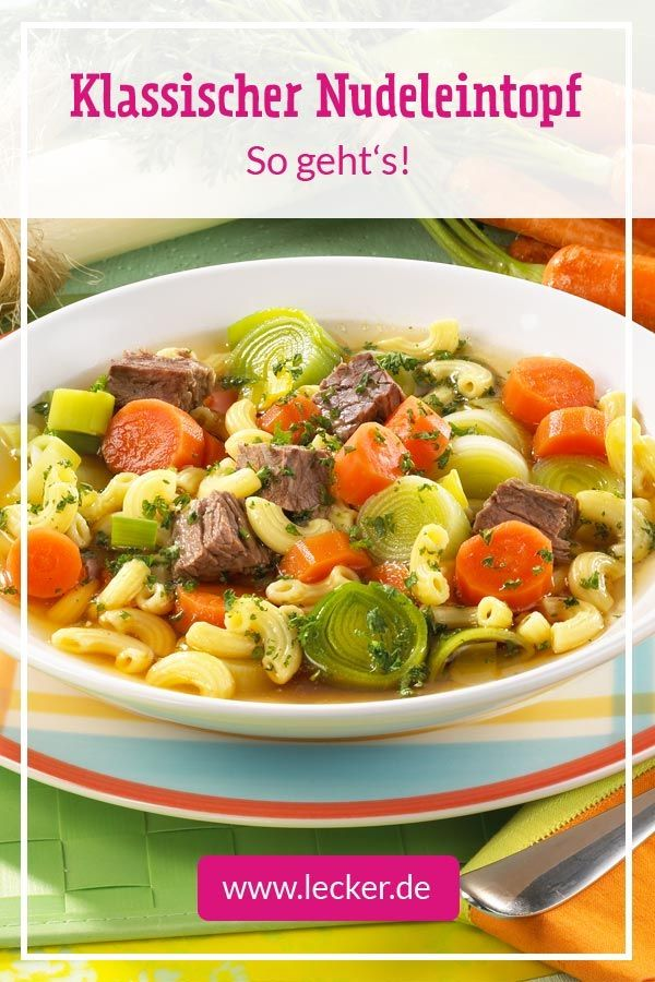 Photo of Pasta stew with beef, carrots and leek