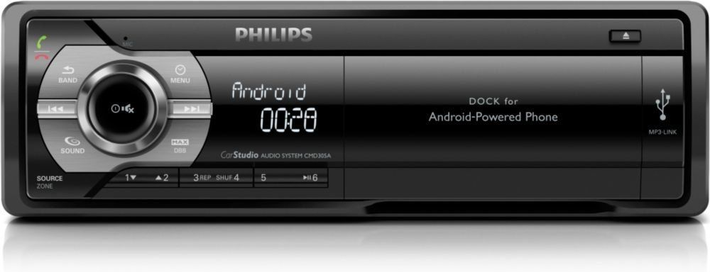 philips car radio with media docking system for mobile phones bluetooth usb android 2 2. Black Bedroom Furniture Sets. Home Design Ideas