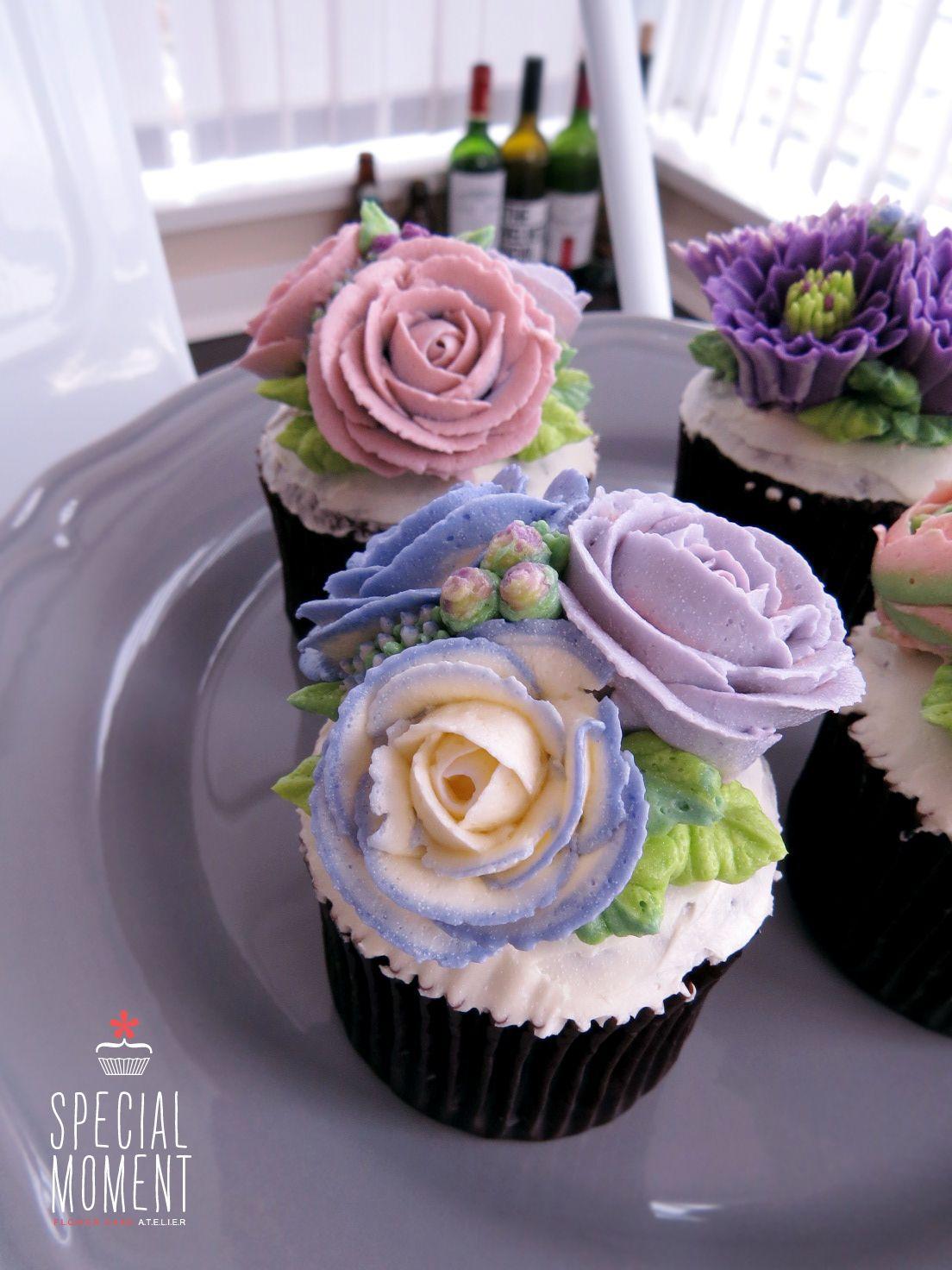 Choco chocolate flower buttercream cupcake for mother 39 s birthday butter cream cake cupcake - Creme decoration cupcake ...