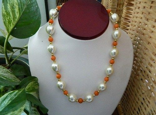Faux  egg  pearls  and  orange  jade  toggle  necklace  earrings | BellaWorxJewelry - Jewelry on ArtFire