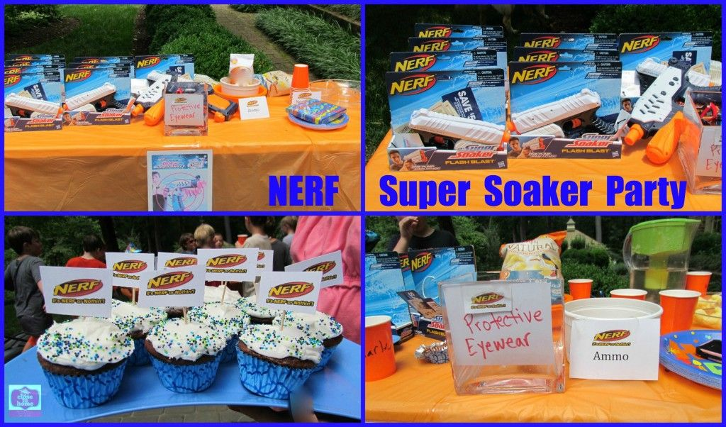 Summer Birthday Party Ideas NERF Super Soaker Water gun party