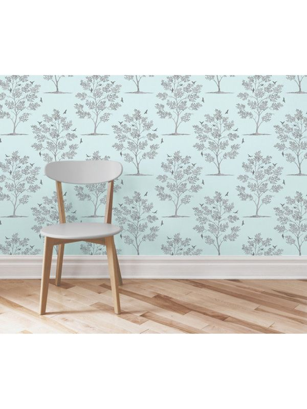 Trees And Birds Wallpaper Teal And Silver Fd40549 By