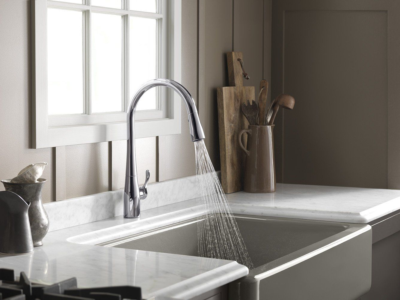 KOHLER K-596-CP Simplice Single-Hole Pull-down Kitchen Faucet ...